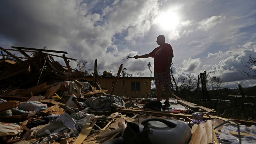 Una delle abitazioni distrutte dal passaggio dell'uragano Maria
