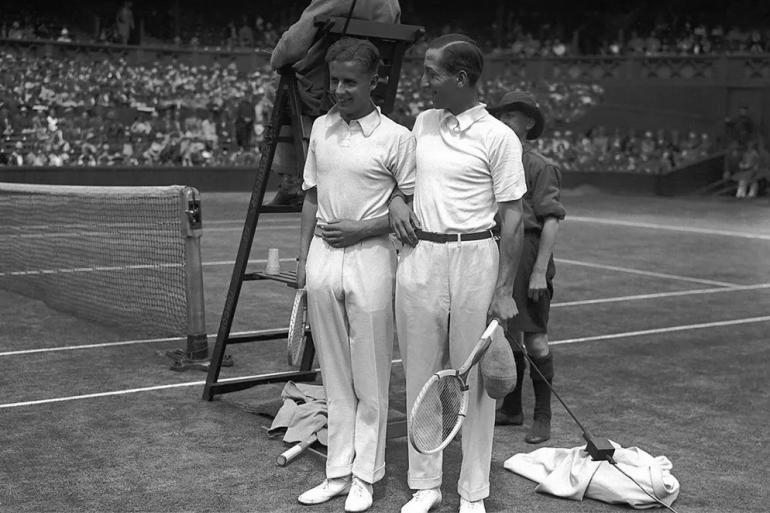 Buddy Austin e René Lacoste prima di una partita, 1928